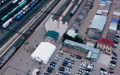 Шатёр на ж/д вокзале Оренбурга для тестирования на COVID-19